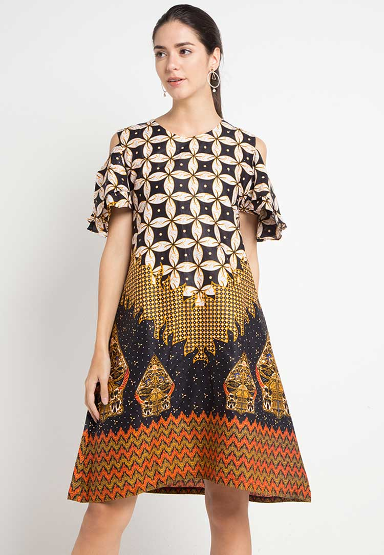dress batik panjang modern