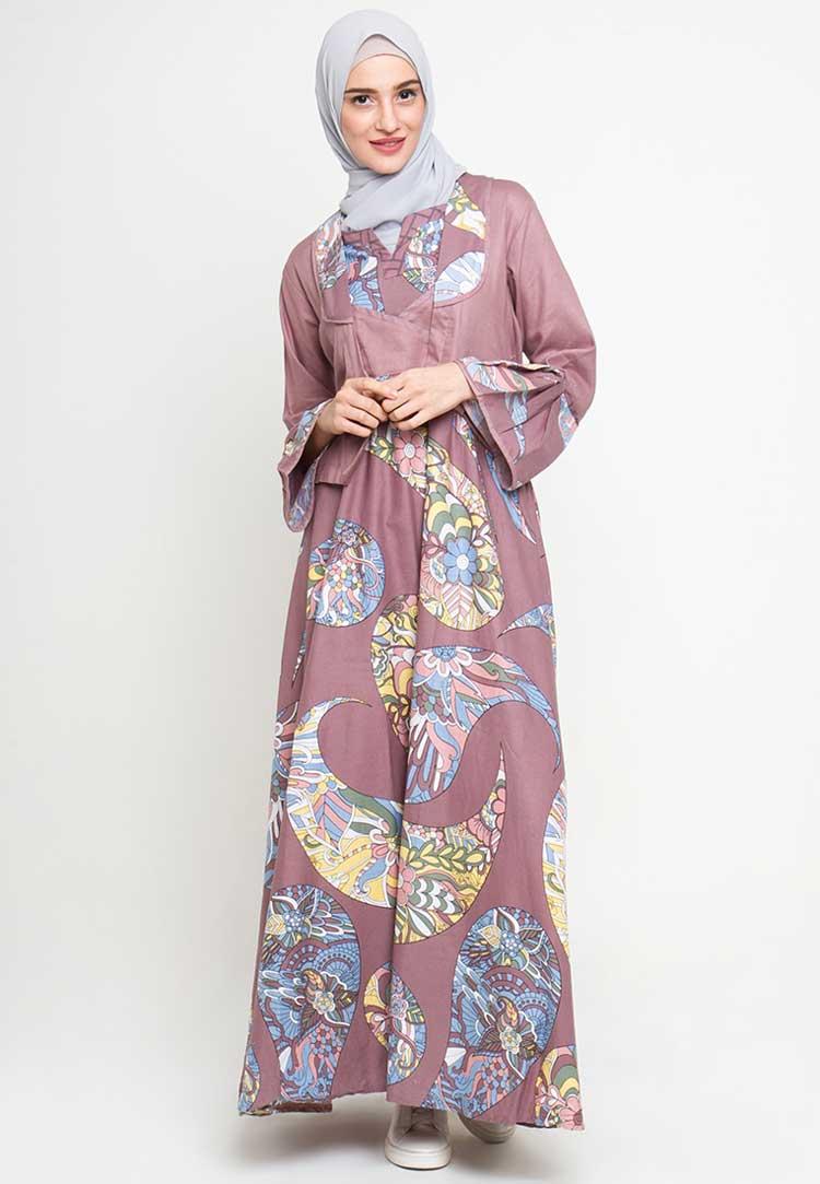 model baju batik muslim wanita kombinasi