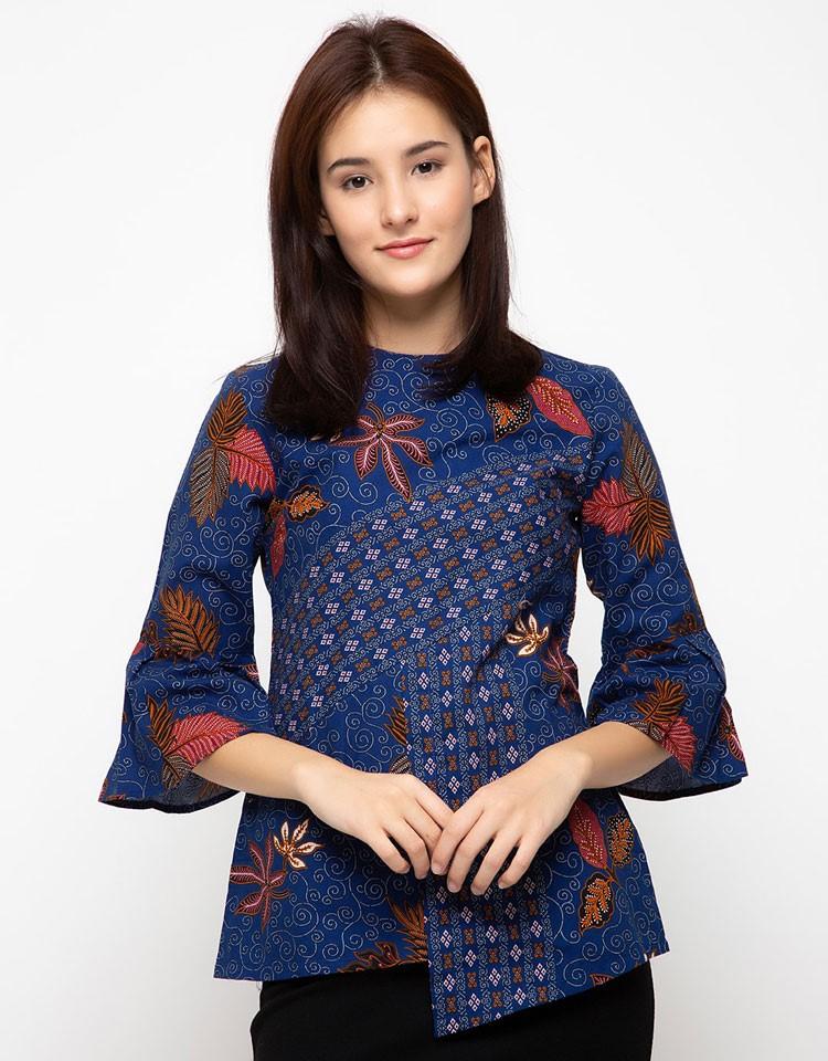 30 Model Baju Batik Kantor Wanita Berjilbab Kombinasi Atasan