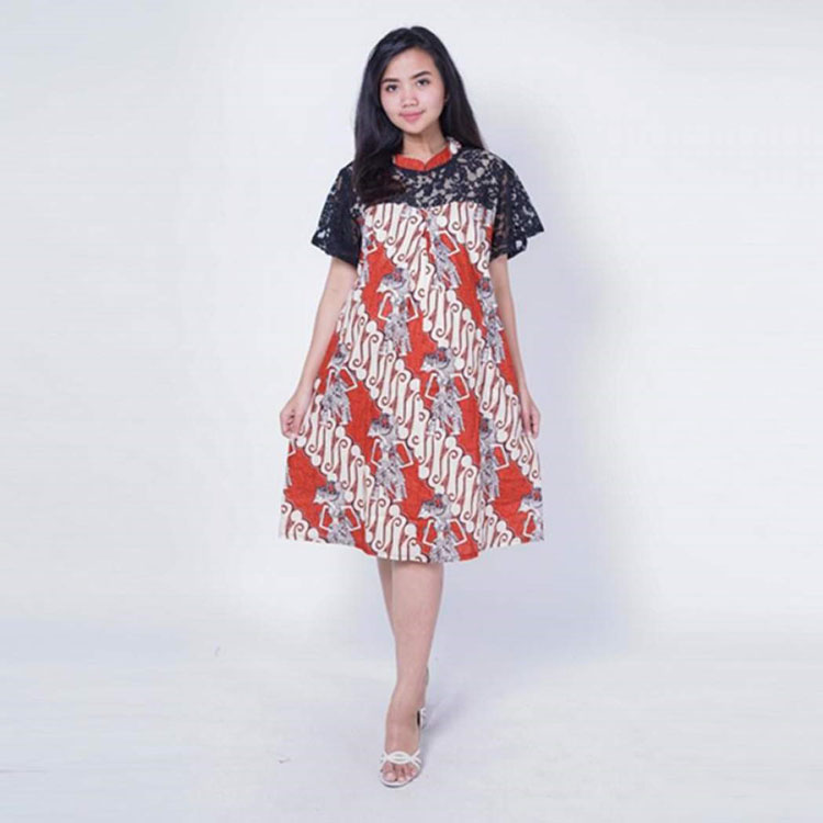 model baju batik kombinasi dress