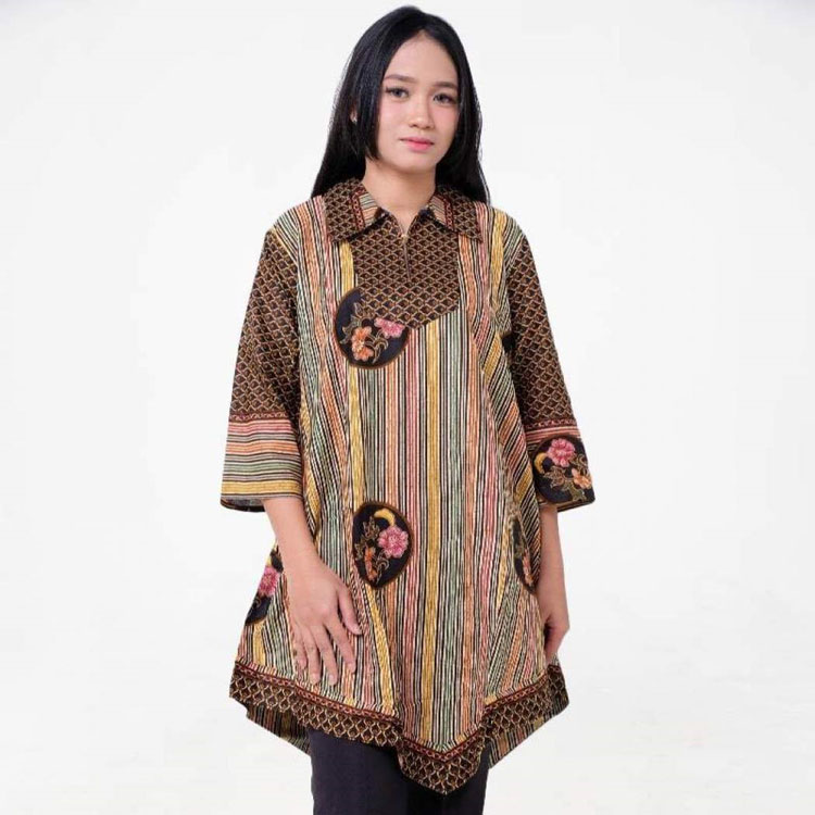 30 Model Baju Batik Kombinasi Dress Gamis Polos Atasan