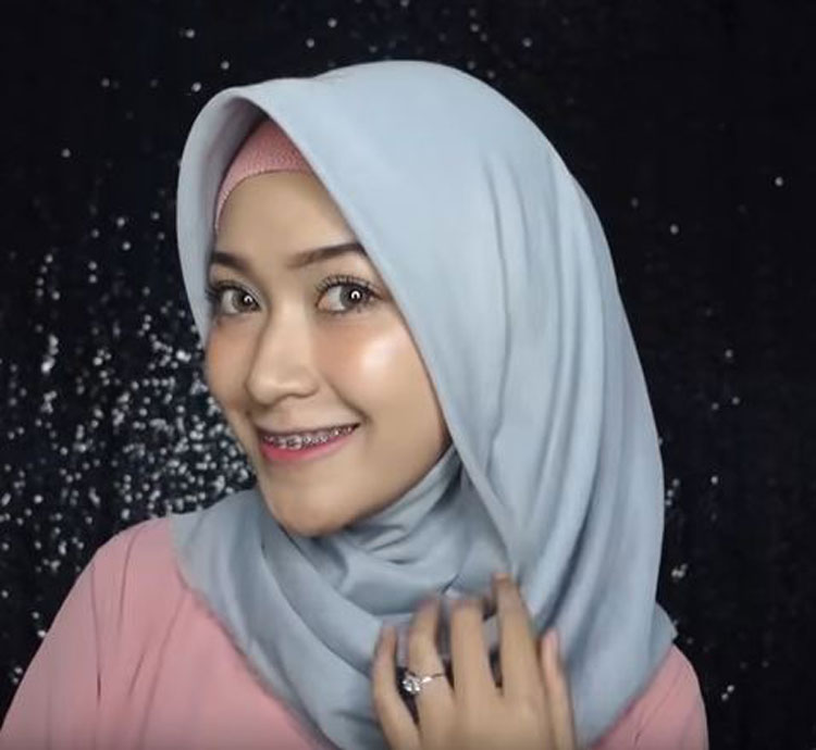 gambar tutorial hijab simple pashmina