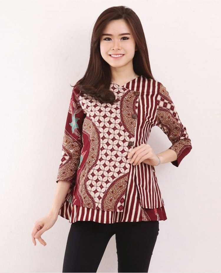 model blouse batik formal