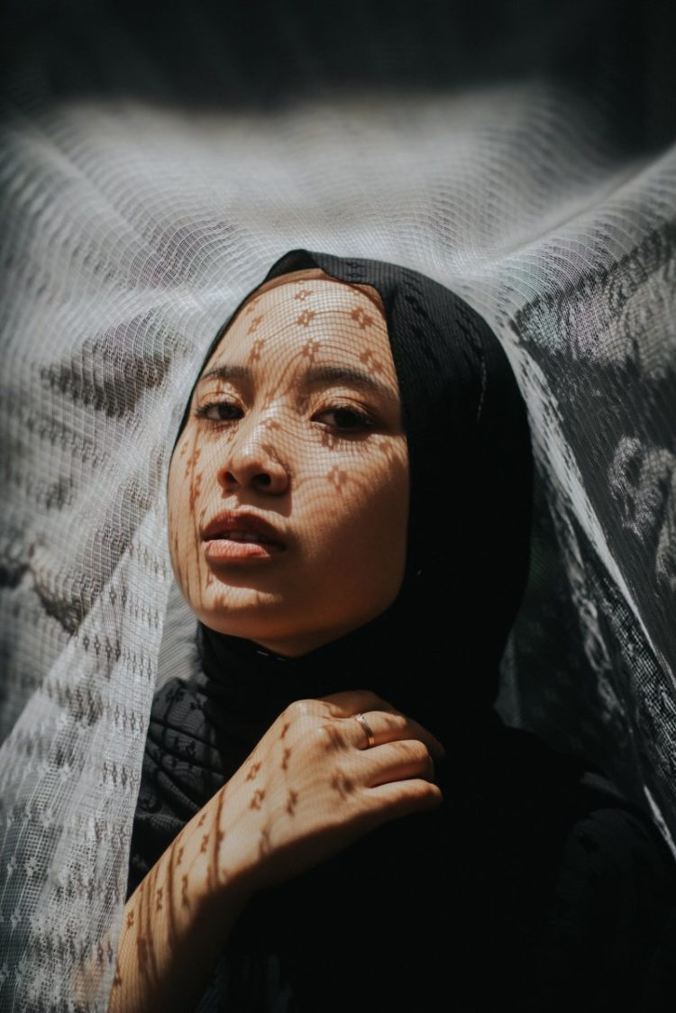 hijab in front of photography