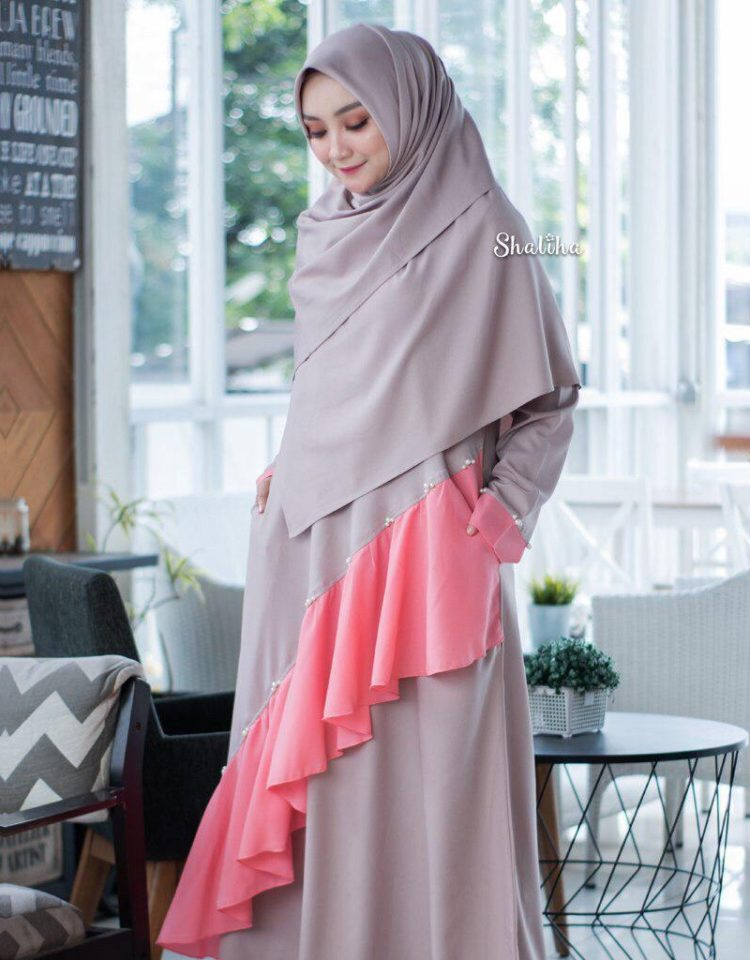 kombinasi dress by shaliha hijab