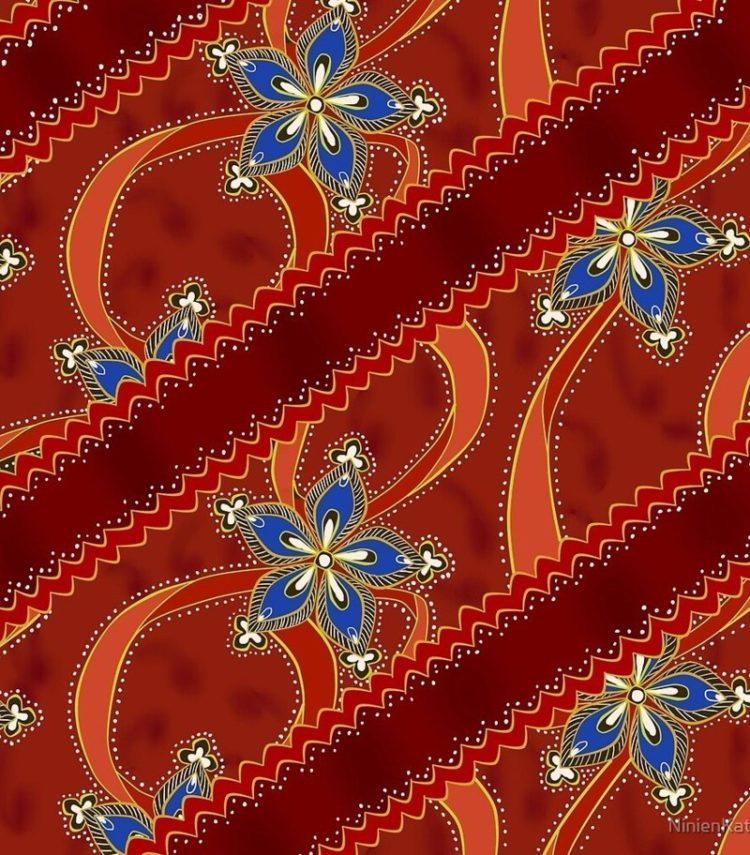 batik flora pattern design stock