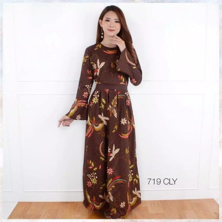 model long dress batik tanpa lengan