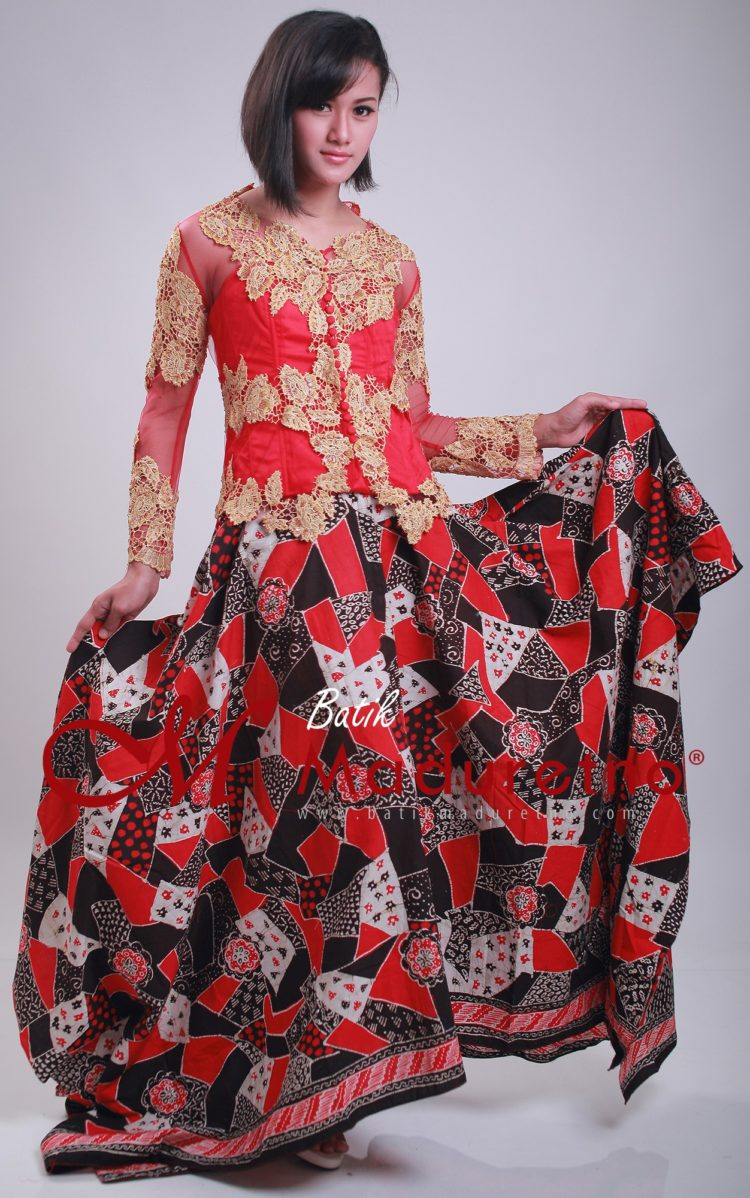 long dress batik kombinasi brokat