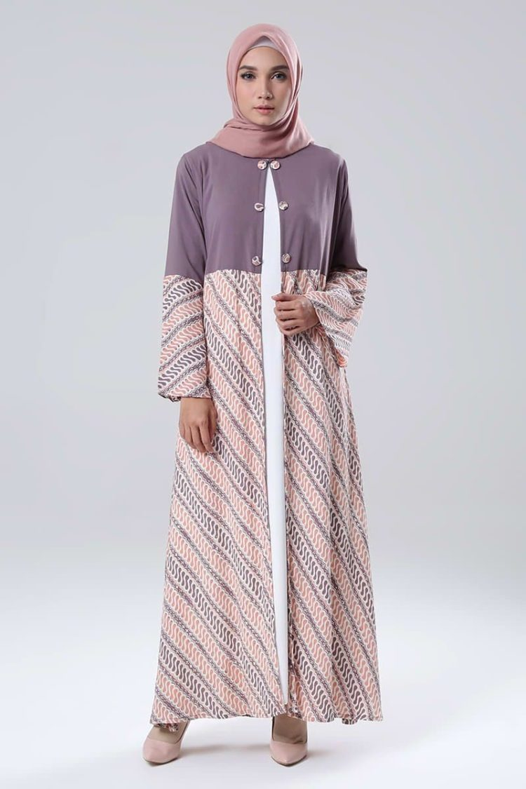 gambar long dress batik kombinasi
