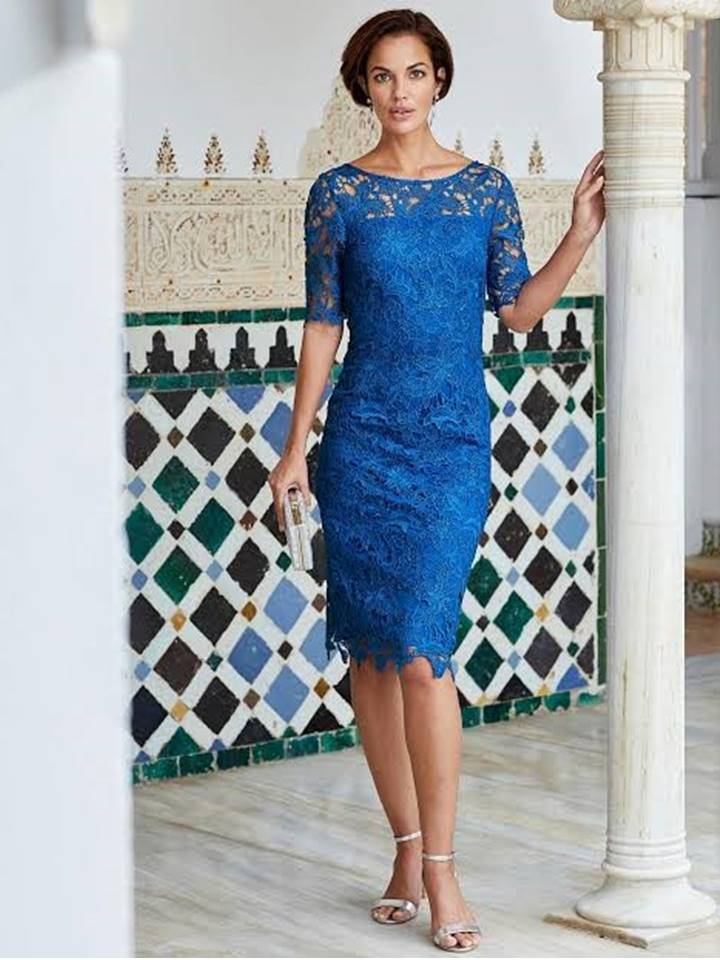 elisa b lace dress navy